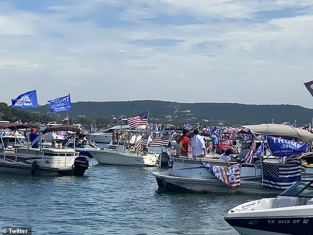 Hundreds of boats are believed to have gathered in the lake on Saturday in support of the president