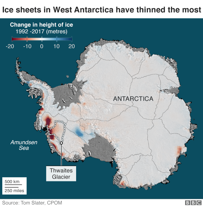 The map showing the West Antarctic Ice Sheet was very weak