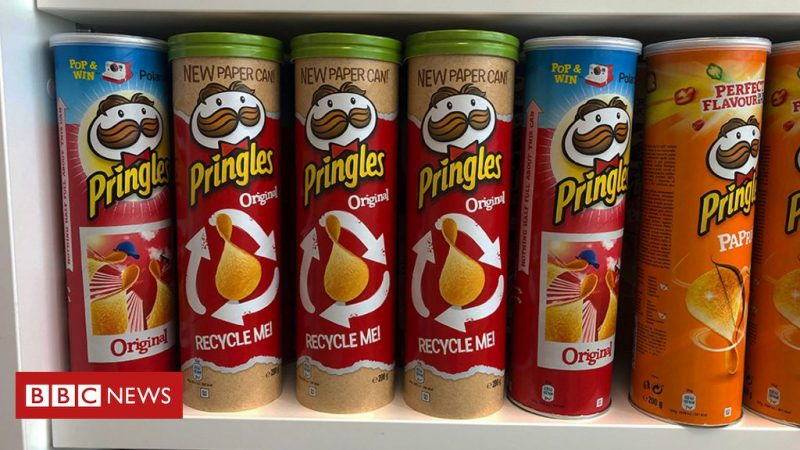 "Pringles tube trying to wake up from a ""recycling nightmare"""