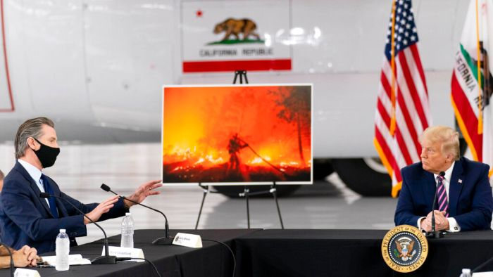 US President Donald Trump is avoiding warning of climate change as devastating wildfires rage on the West Coast of the United States