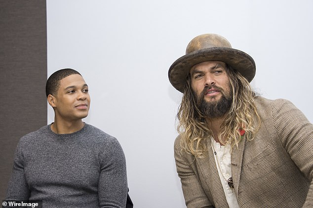 "Ray Fisher and Jason Momoa in ""Justice Squad"" Press conference at the Rosewood Hotel November 3, 2017 in London, England"