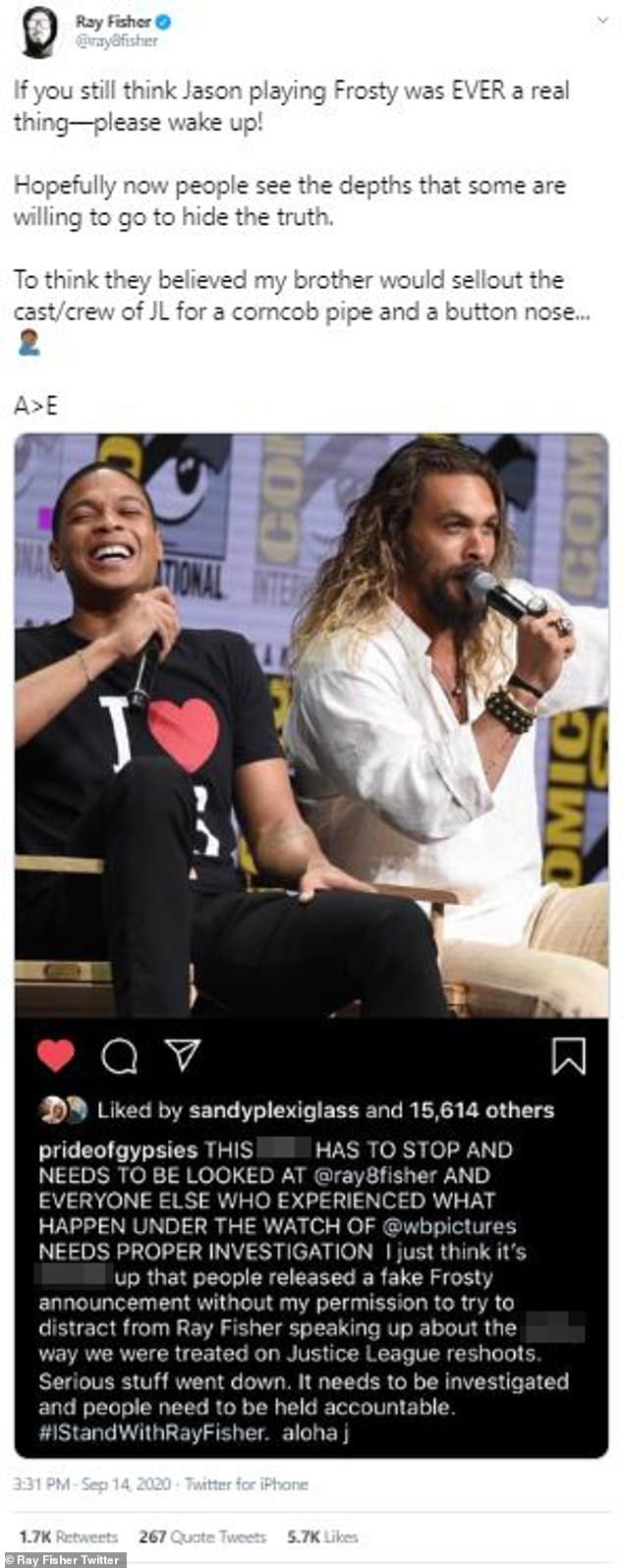 Fake news: Fisher also reiterated that Momoa news expressing Snowman's Frosty was always fake, despite being widely reported in the press, in a tweet Monday