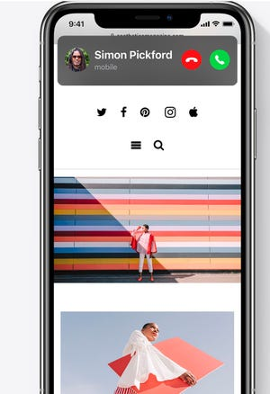 The compact theme for calls in iOS14