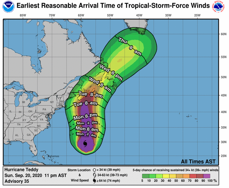 Hurricane Teddy 2020 NOAA NHC windfall time