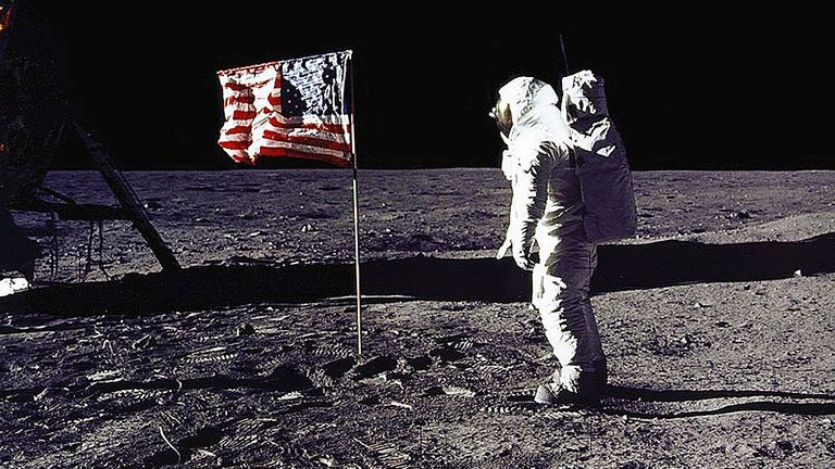 "Capital, United States: This July 20, 1969 NASA photo shows astronaut Edwin E. ""buzz"" Aldrin Jr. salutes the American flag on the moon during the Apollo 11 mission to the moon. July 20, 1999 marks the 30th anniversary of the Apollo 11 mission and the first human walk on the moon. Agence France-Presse Photo NASA (Image must be read from NASA / AFP via Getty Images)"