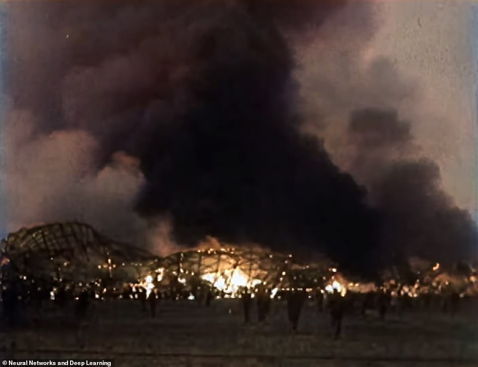 Werner Gustav Donner was the last surviving traveler from the Hindenburg disaster before his death in November 2019. Pictured: Firefighting crews and eyewitnesses watch in Hindenburg on fire