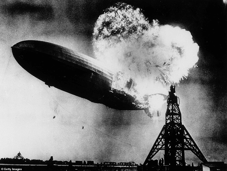 Pictured: The moment a fire burns in Hindenburg and crashes in New Jersey in 1937