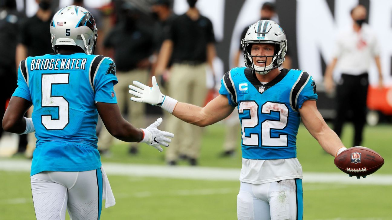 Christian McCaffrey of the Carolina Panthers is out for 4-6 weeks with a sprained ankle