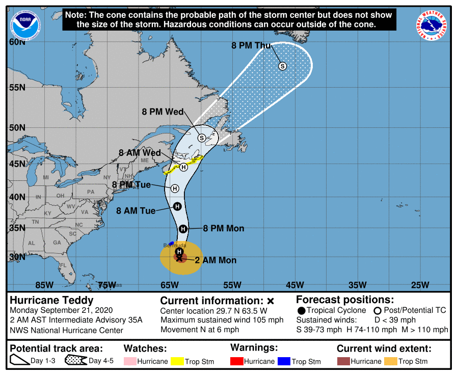 NOAA National Hurricane Center Hurricane Teddy 2020 Projected Path