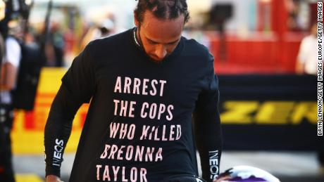Hamilton wears a shirt in tribute to Taylor during the Grand Prix on Sunday