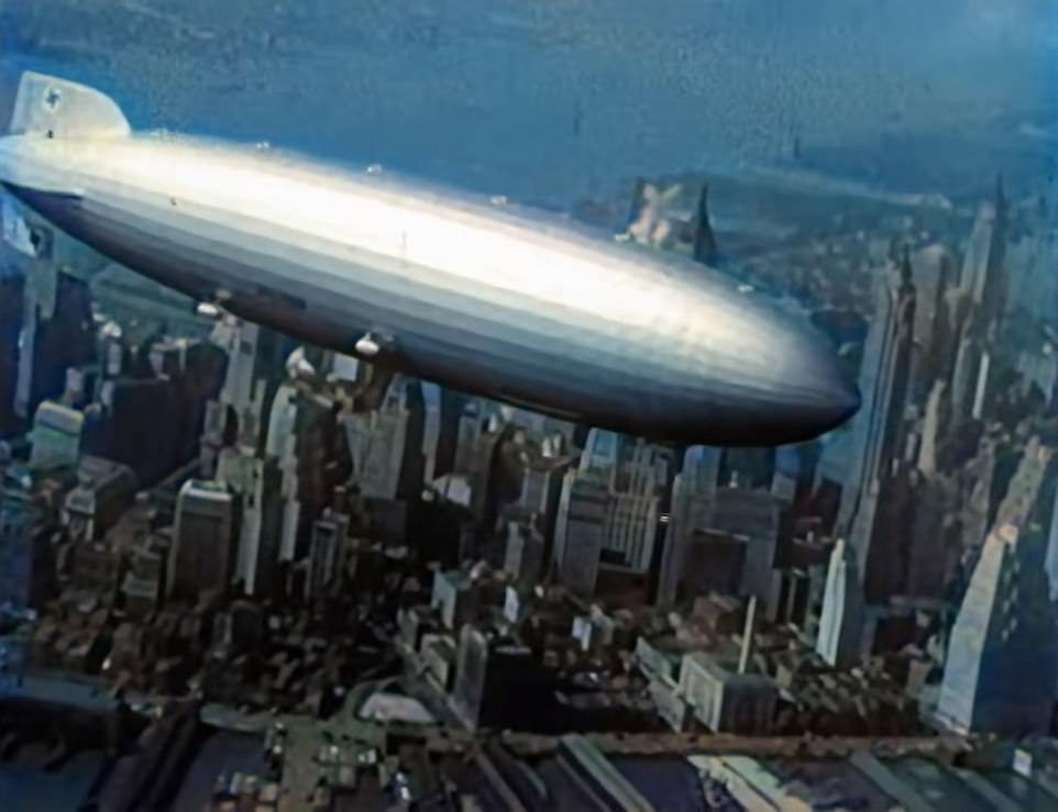 The LZ-129 Hindenburg (pictured) traveled from Frankfurt, Germany, with nearly 100 people on board to Lakehurst Naval Station in New Jersey in May 1937.