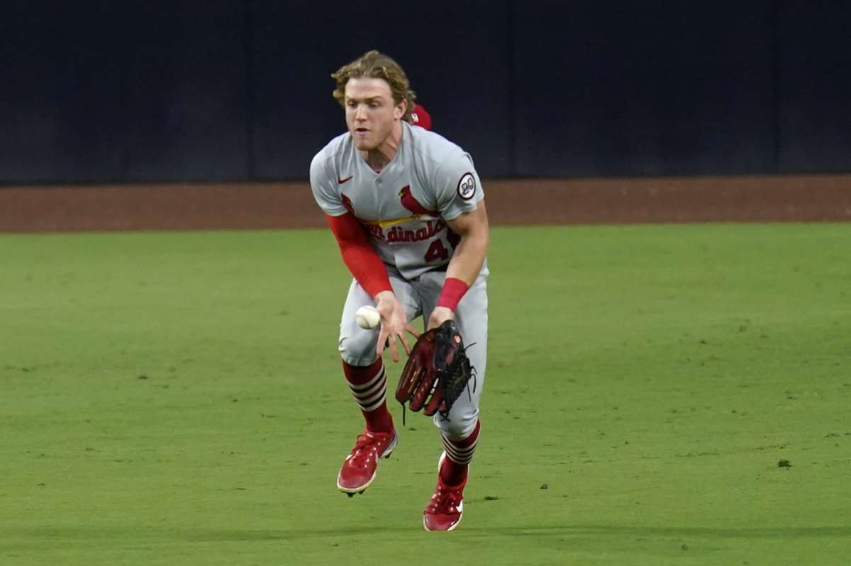 St. Louis Cardinals midfielder, Harrison Bader, can't catch a single from San Diego Padres Jurexon Brovar during the fifth inning of the second game of the National League Baseball Series on Thursday, October 1, 2020, in San Diego.