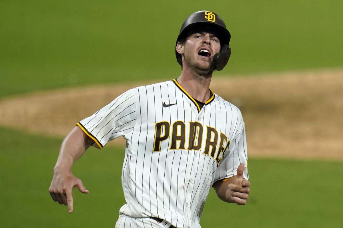 Will Myers of the San Diego Padres team reacts after shooting at home during the seventh game of the second game of the National League Baseball Series against the St. Louis Cardinals, Thursday, October 1, 2020, in San Diego.