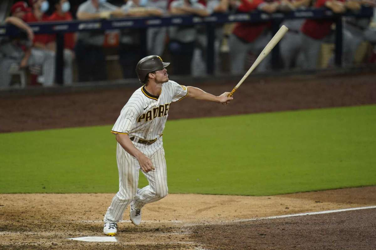 Will Myers of the San Diego Padres team watches his home run during the eighth game of the second game of the National League Baseball Series against the St. Louis Cardinals, Thursday October 1, 2020, in San Diego.