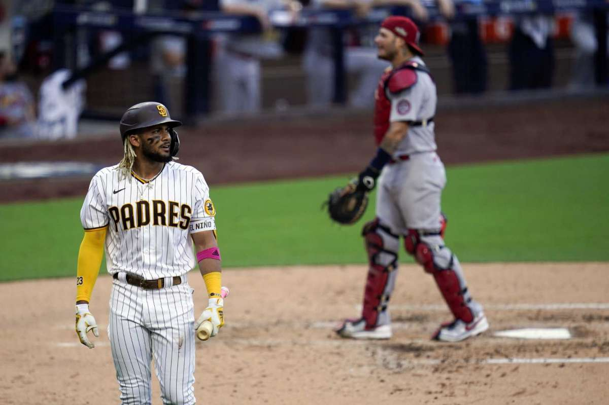Fernando Tatis Jr. is leaving San Diego Padres after he was knocked out during the third half of the second game of the National League Baseball Series against the St. Louis Cardinals, Thursday October 1, 2020, in San Diego.