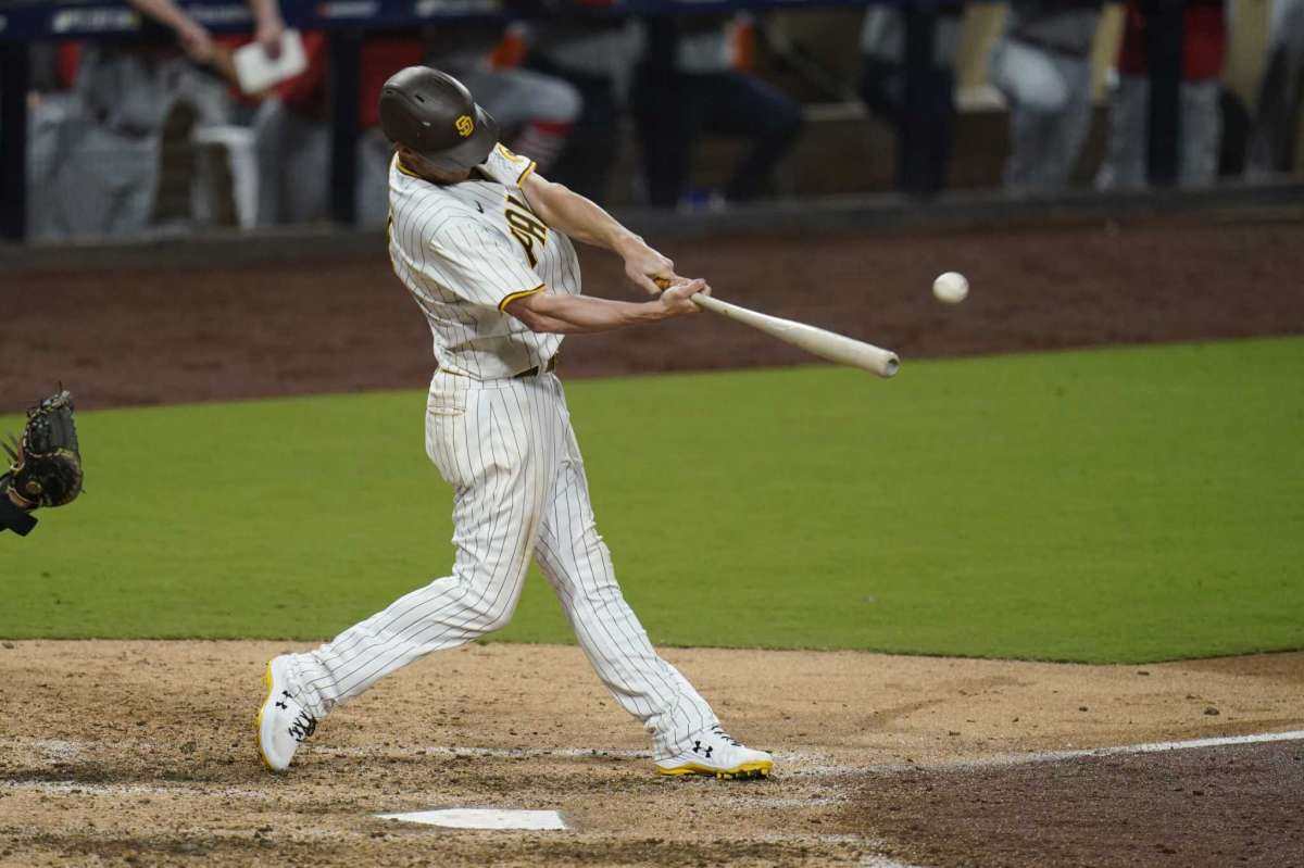 Will Myers of San Diego Padres scored a ground game during the seventh game of the second game of the National League Wildcard Series baseball against the St. Louis Cardinals, Thursday October 1, 2020, in San Diego.