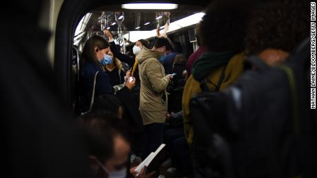 Passengers pack a metro train during the morning rush hour on September 28th in Paris.