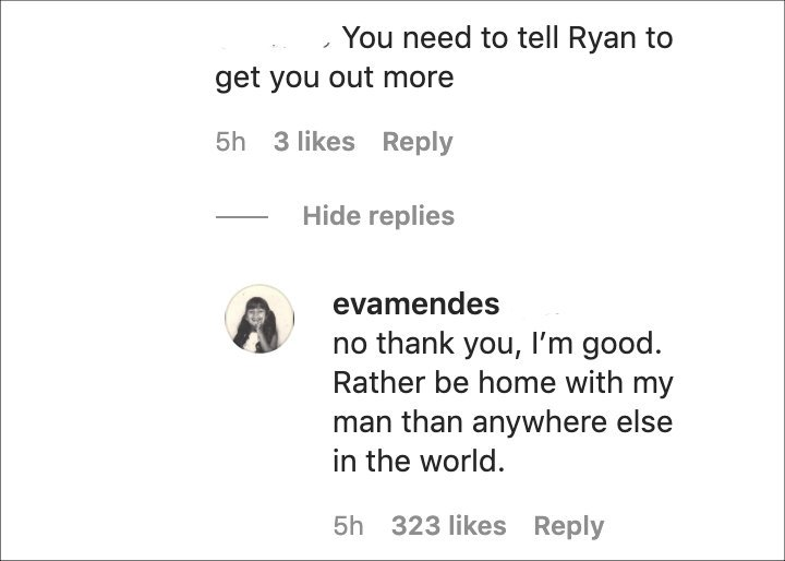 Eva Mendes responded to Troll's comment on her IG post