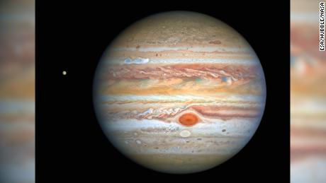Hubble spies stormy weather on Jupiter