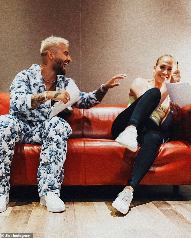Co-stars: Jennifer and Maluma are also promoting their upcoming romantic comedy movie Marry Me, which is set to hit theaters on Valentine's Day 2021;  Pictured is Maluma and Jennifer in July
