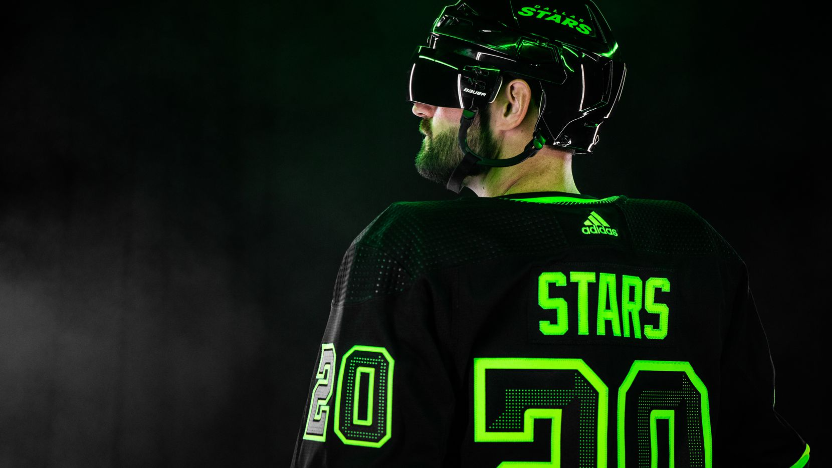 """The Dallas Stars revealed their new third jersey on Wednesday morning """"black out"""" By the team and using the color neon green the team called it """"Skyline Green."""""""