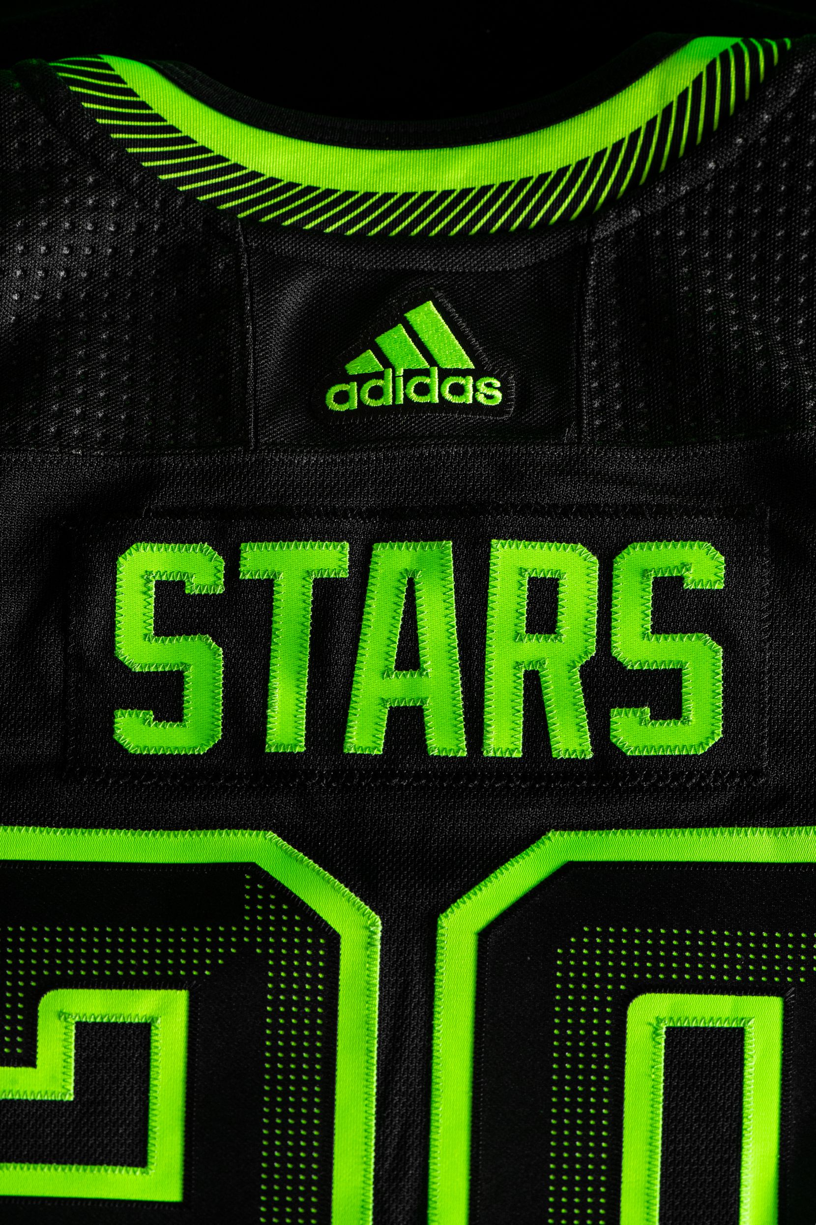 """The Dallas Stars revealed their new third jersey on Wednesday morning """"black out"""" By the team and by using the color neon green the team called it """"Skyline Green."""""""