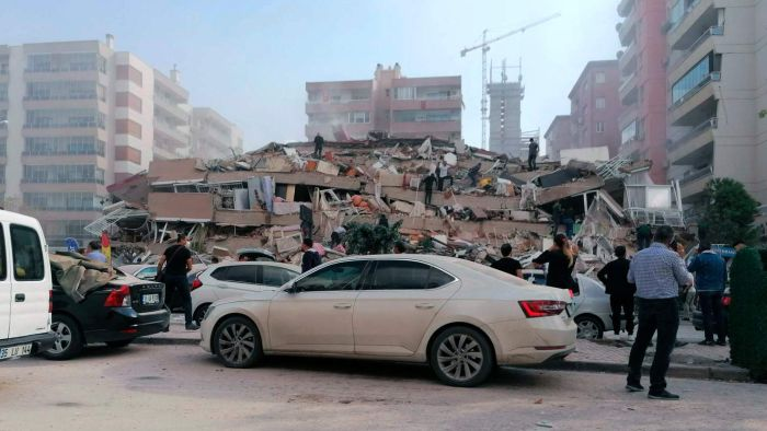Deaths in Turkey and Greece, where a 6.9-magnitude earthquake flattened buildings in the Turkish city of Izmir