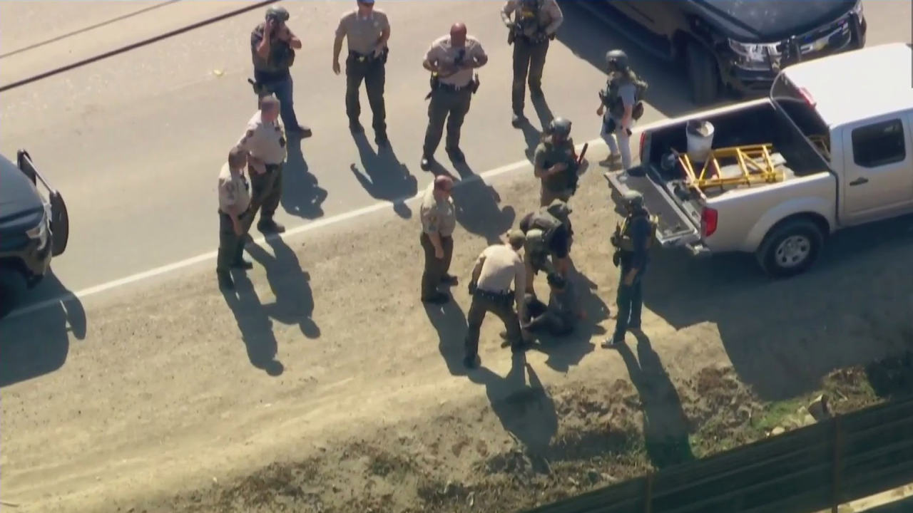 A man was treated, detained after leading the authorities in a chase in Ventura County