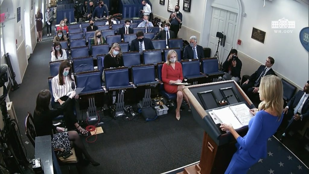 Kylie McNani gave a briefing Thursday without a mask. Are White House Correspondents worried?