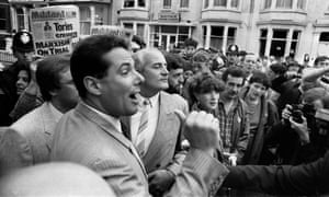 Derek Hutton outside the 1985 Labor Party convention in Blackpool, where Neil Kinnock denounced the group.