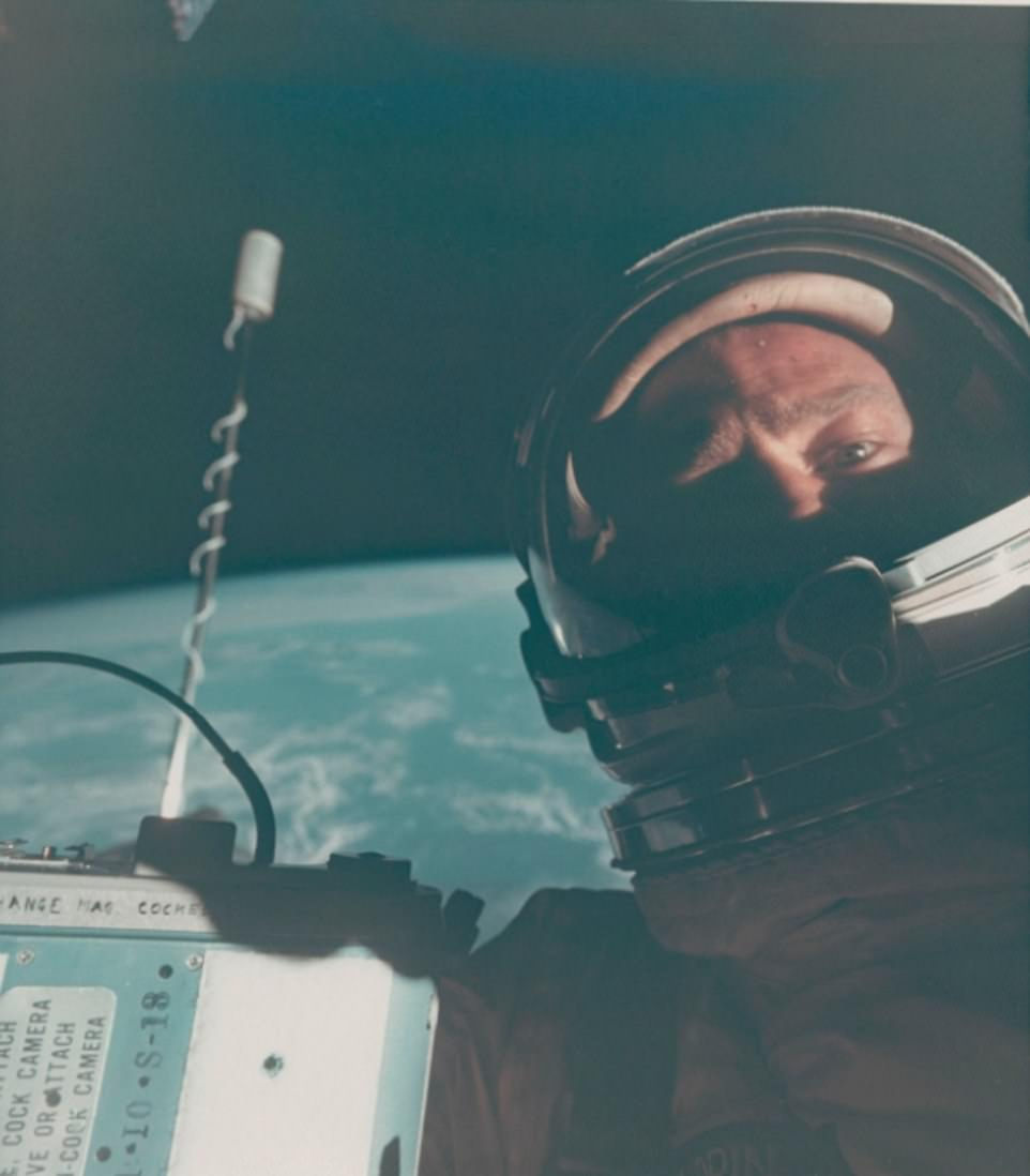 Buzz Aldrin Portrait, First Self Portrait in Space, November 11-15, 1966