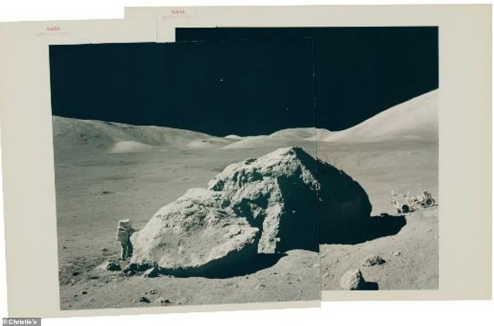 Panoramic View of Harrison Schmidt, Tracy's Rock and the LunarRover, Station 6, December 7-19, 1972