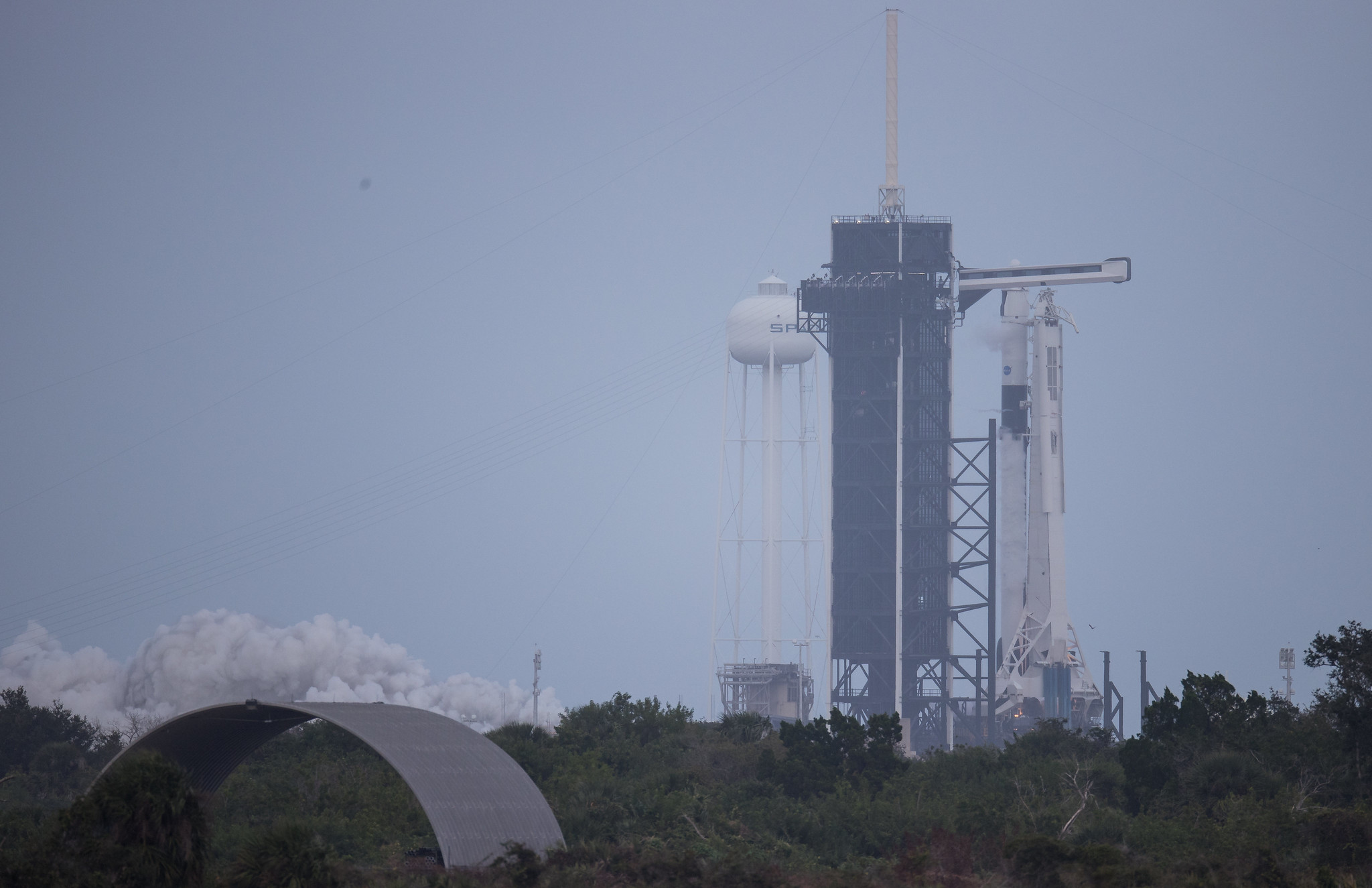The SpaceX Falcon 9 first-stage engine test rocket launched briefly over Pad 39A at NASA's Kennedy Space Center in Cape Canaveral, Florida on November 11, 2020. The rocket will launch NASA's Crew-1 Astronaut Mission on November 14.