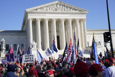 """Protesters gathered outside the US Supreme Court building during """"Million Maja in March"""" in Washington."""