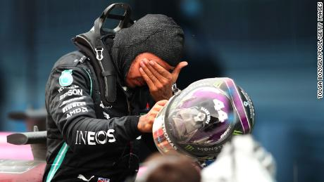 Emotional Hamilton after the race.  He later said he might be celebrating some minestrone soup and wine.