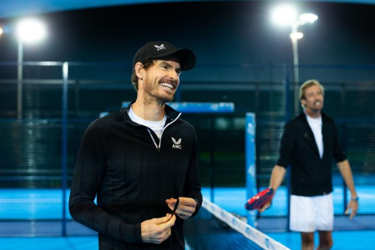 Andy Murray and Peter Crouch play Padel for BBC Children in Need 2020 filmed at LTA's National Tennis Center on November 09, 2020 in London, England.