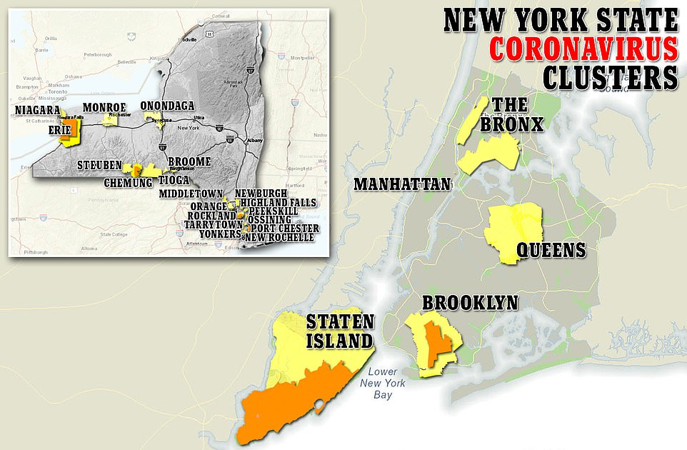 The average of new confirmed cases in New York state has averaged about 5,500 cases per day for the past seven days.  The most dangerous hikes have been reported in Staten Island and parts of Brooklyn, Queens and the Bronx.  An increase in cases has also been reported in western New York State