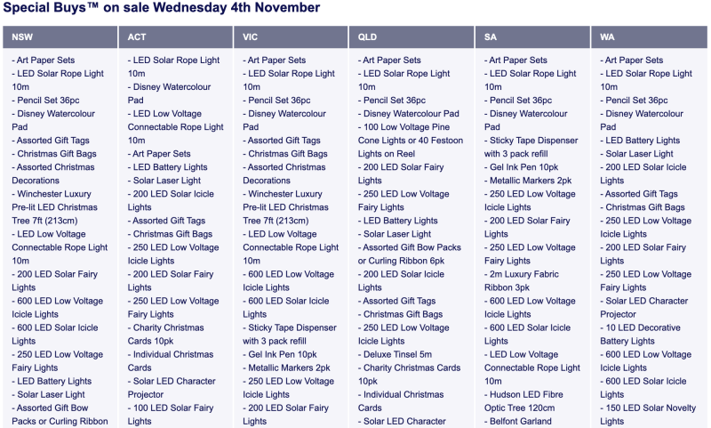 The individual state list shows the Aldi special purchases that will not be available on Wednesday.