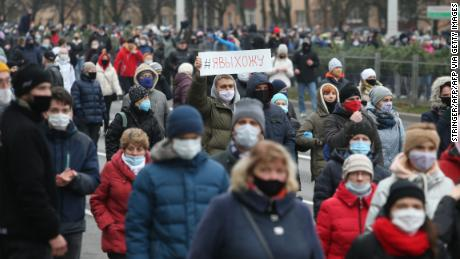 Supporters of the Belarusian opposition wearing face masks attend a rally to protest the results of the Belarusian presidential election in Minsk, on November 15th.