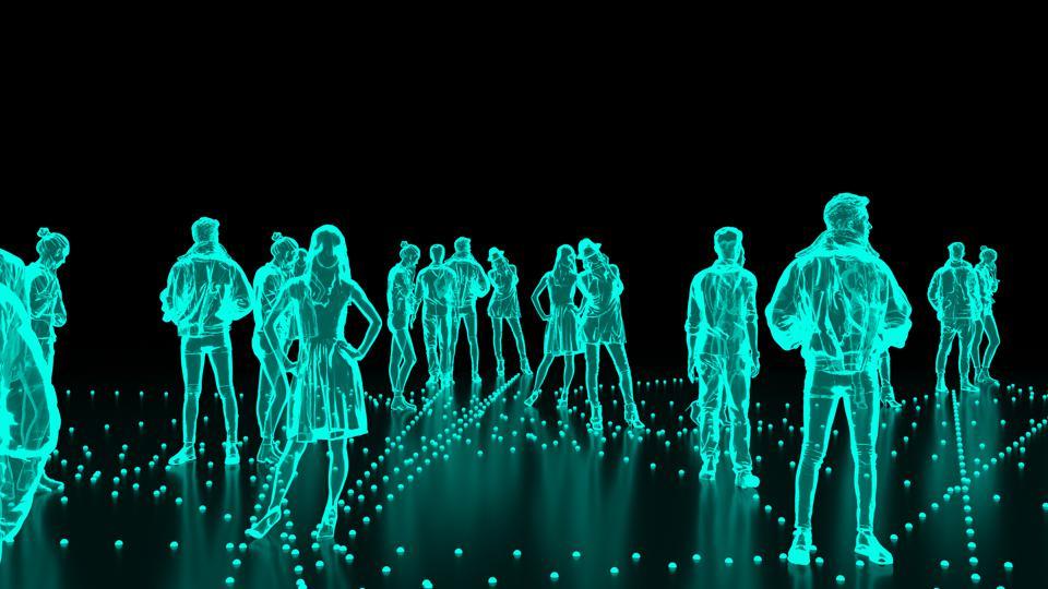 Human hologram of people, crowd