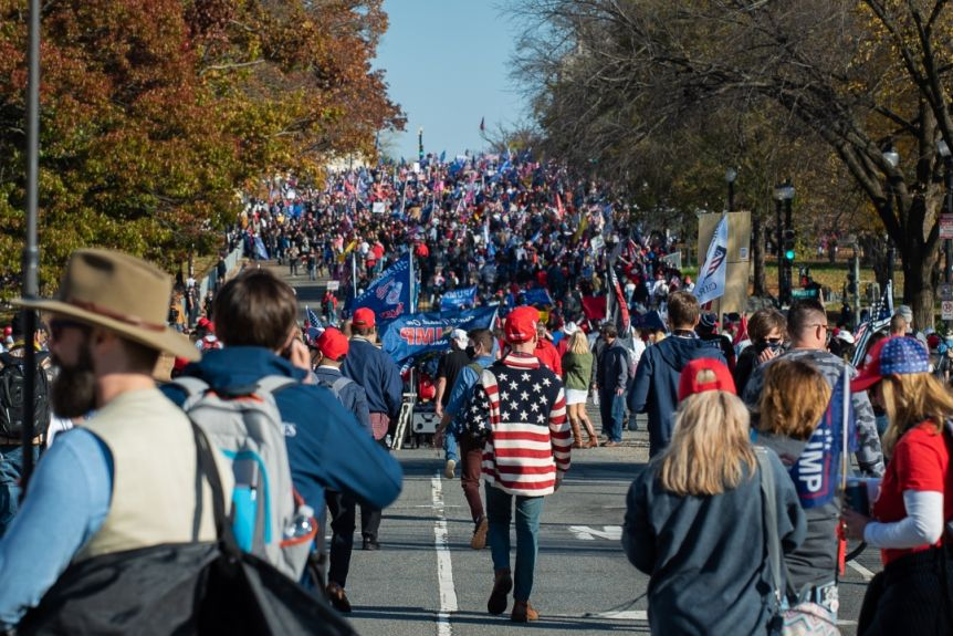 Crowds of people are walking down a tree-lined street