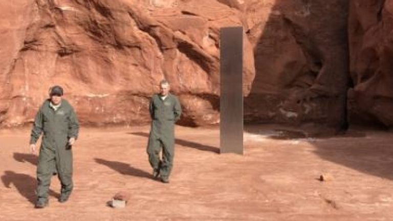 Mineral monolith found in Utah.  PIC: Utah Department of Public Safety