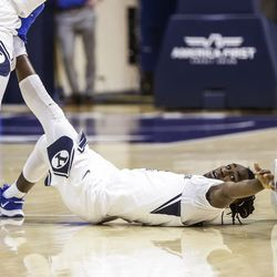BYU Goalkeeper Brandon Averette reaches a loose ball during the Cougars' match against the Boise State Broncos at the Marriott Center in Provo, Utah on December 9, 2020.