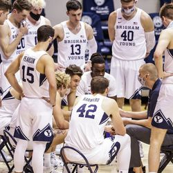 BYU Cougars gathered during their match against the Boise State Broncos on December 9, 2020 at the Marriott Center in Provo, Utah.