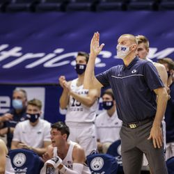 Mark Pope, BYU Cougars' men's basketball coach, gives directions during a match against the Boise State Broncos at the Marriott Center in Provo, Utah on December 9, 2020.