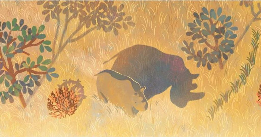 Google Doodle highlights Sudan, the last male of the northern white rhino