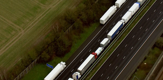 Truck drivers trying to leave the UK