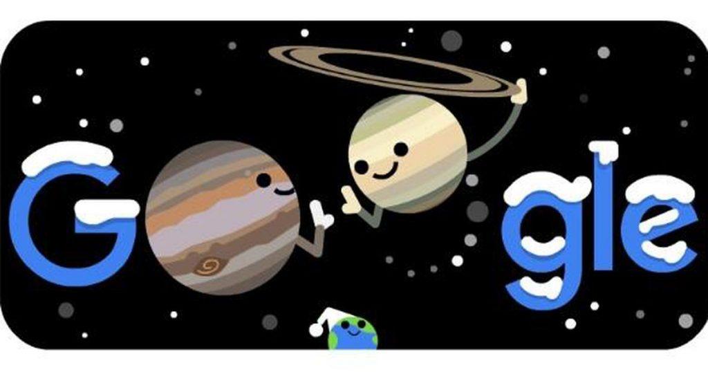 Google Doodle illustrates the wonderful conjunction between Jupiter and Saturn