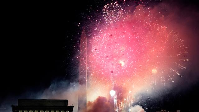 After the online concert, a fireworks display was held near the Lincoln Memorial.
