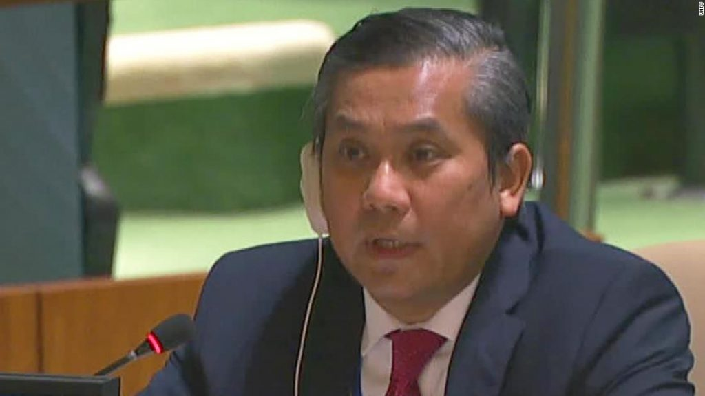 Myanmar's ambassador to the United Nations called for immediate global action to help reverse the coup